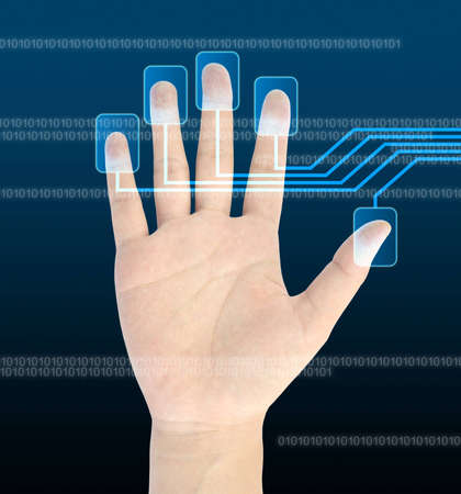 access control: scanning of a finger on a touch screen interface