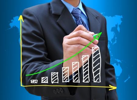 Kaufmann Handzeichnung business graph Standard-Bild