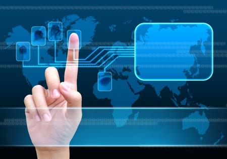 id: la num�risation d'un doigt sur une interface � �cran tactile Banque d'images