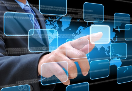 businessman hand pushing button on a touch screen interface Stock Photo - 12920051