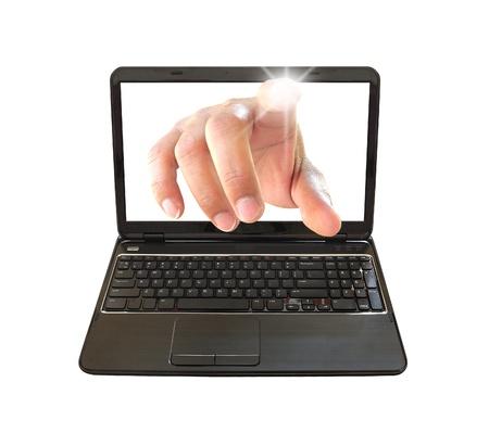 hand press: hand choosing on laptop PC