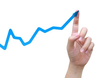 women hand and business graph Stock Photo - 13386106