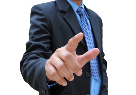 businessman hand touching photo