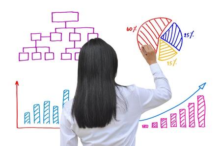 働く女性手ビジネス グラフの描画 写真素材
