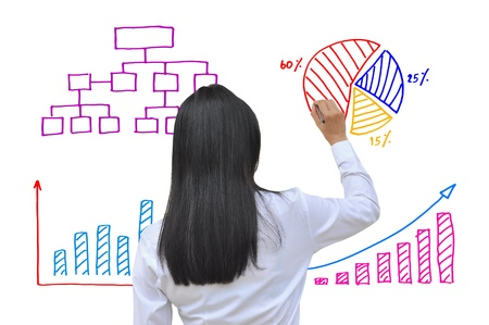working women hand drawing business graph Stockfoto