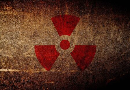 abstract radioactive symbol on a grunge wall photo