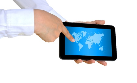 hand pushing a world map on a touch screen interface Stock Photo - 14703399