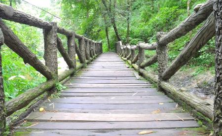 wood bridge on the river photo
