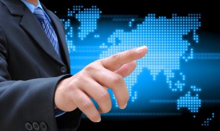 businessman hand holding on technology