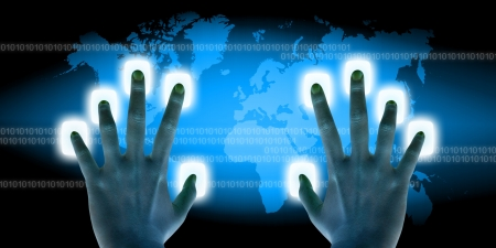 businessman scanning of finger on a touch screen interface