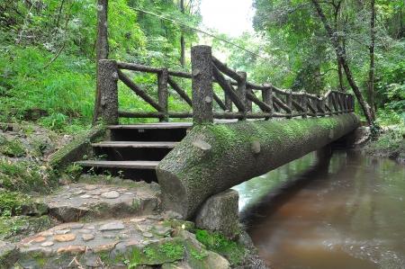 pont de bois sur la rivière Banque d'images