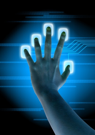 decipher: scanning of finger on a touch screen interface
