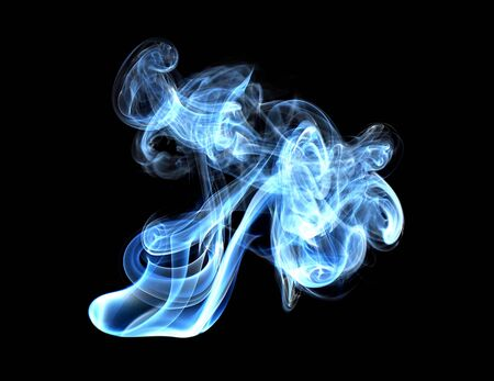 sizzling: Abstract glowing of smoke isolated on black