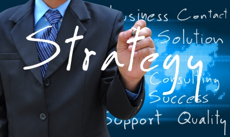 businessman hand writing strategy Stock Photo - 15816019