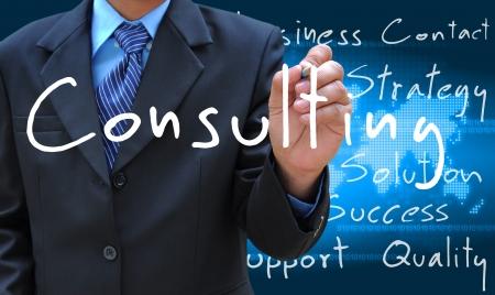 contact info: uomo d'affari di scrittura a mano di consulenza