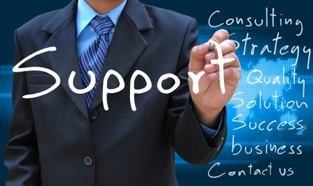 support team: businessman hand writing support