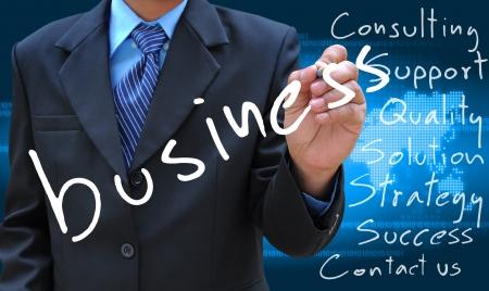 businessman hand writing business photo