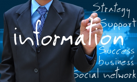 businessman hand writing information Stockfoto