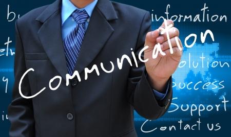 businessman hand writing communication photo