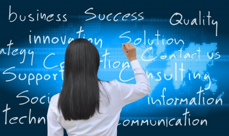 business consulting: working women hand writing