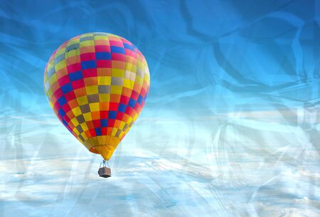 the crumpled of colorful hot air balloon with beautiful blue sky and cloud Stock Photo - 16296572