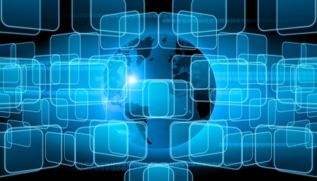 computer tech: abstract world technology background