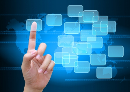 business communication: hand pushing button on a touch screen interface