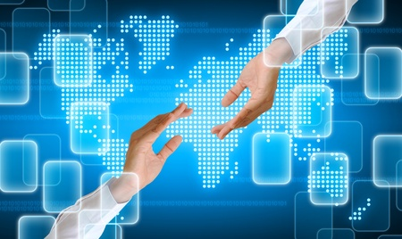 contact us: hand holding on technology background Stock Photo