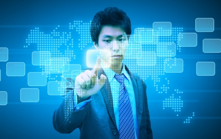 businessman hand pushing button on a touch screen interface Stock Photo - 18285819