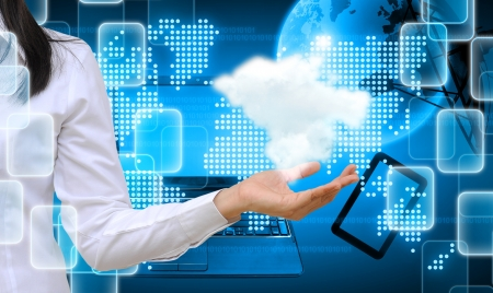 hand holding a cloud on technology background