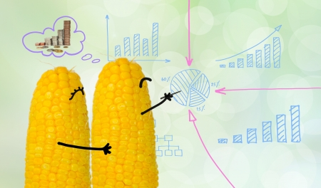 couple corn drawing business graph photo