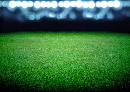 football stadium: soccer field and the bright lights Stock Photo