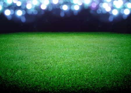soccer kick: soccer field and the bright lights Stock Photo