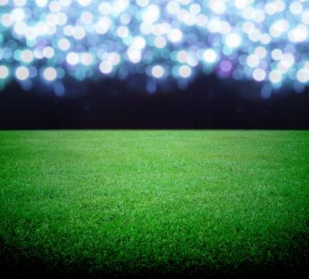 soccerfield: voetbalveld en de felle lichten Stockfoto