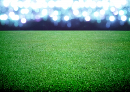 soccer world cup: soccer field and the bright lights Stock Photo