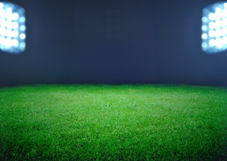 soccer field and the bright lights Banco de Imagens