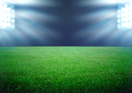 soccer field: soccer field and the bright lights Stock Photo