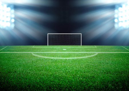 soccer field and the bright lights Stockfoto
