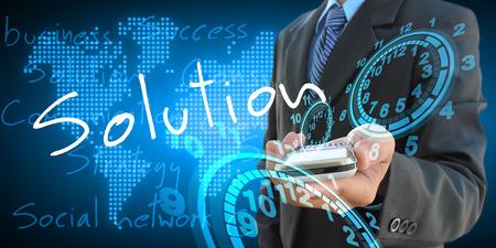 businessman hand holding solution photo
