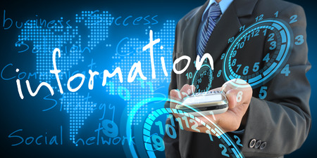 computer services: businessman hand holding information Stock Photo