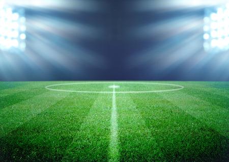 축구 필드와 밝은 조명 스톡 콘텐츠