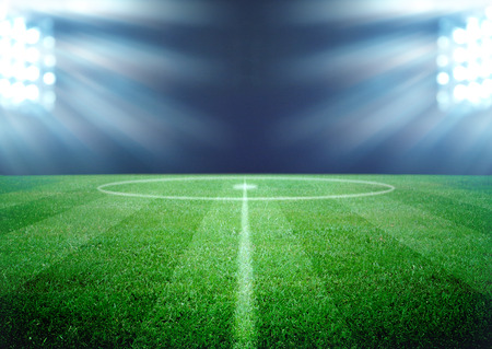 soccer field and the bright lights Standard-Bild