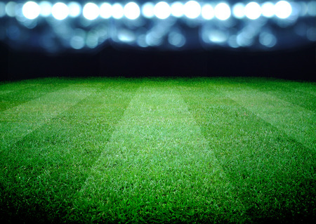 soccer sport: soccer field and the bright lights Stock Photo