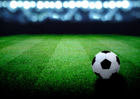 turf: soccer field and the bright lights Stock Photo