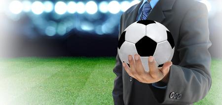 サッカー場でサッカーのマネージャーの計画 写真素材