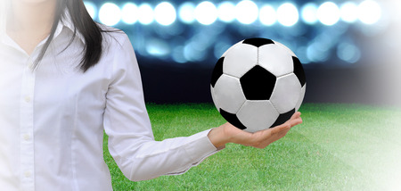 soccer manager at soccer field photo
