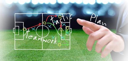 サッカー場でのサッカーのマネージャーの計画