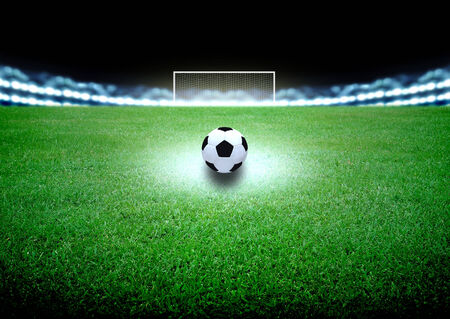 goal kick: soccer field and the bright lights Stock Photo