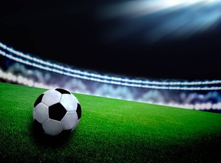 soccer background: soccer field and the bright lights Stock Photo