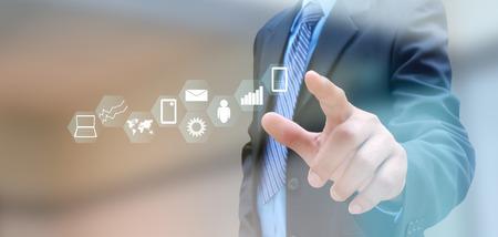 ビジネスマンや技術上のソーシャル ネットワークの手 写真素材